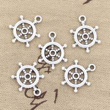 30pcs Charms ships wheel helm rudder 20x15mm Antique Silver Bronze Plated Pendants Making DIY Handmade Tibetan Jewelry(China)