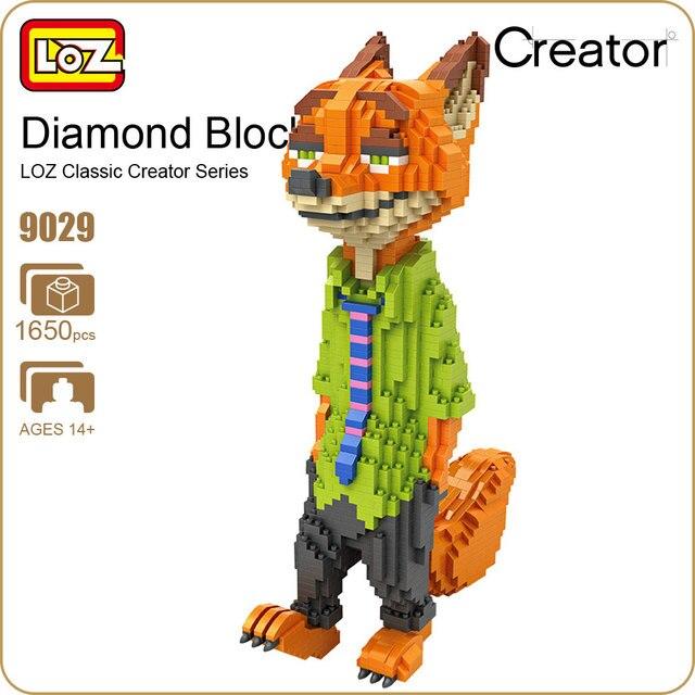 Ideas del bloque de diamante loz wilde nick fox animales lindos zootropolis modelo mini bloques de construcción de plástico rompecabezas educación regalo 9029