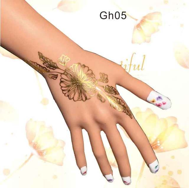 Gh05 1 Piece Foiled Gold Henna Temporary Tattoo For Hands With