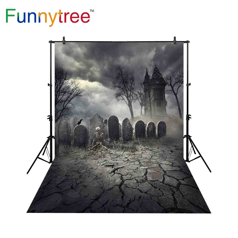 Funnytree backdrop for photographic studio tomb Halloween Human bones Dark sky horrible background photocall photobooth prop in Background from Consumer Electronics