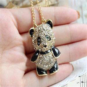 Women Panda Pendant Necklaces Sweater Necklaces Alloy Rhinestone Women Fashion Crystal Necklace Women Jewelry New Arrival
