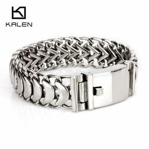 Image 3 - Kalen Nieuwe Hoge Gepolijst Glanzend Armbanden Rvs Fiets Link Chain Bike Chain Armbanden Mode Mannelijke Accessoires 2018