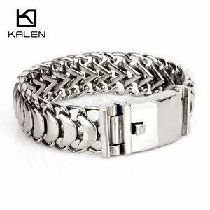 Image 3 - Kalen новый полированный блестящий браслет из нержавеющей стали, велосипедная цепь, велосипедная цепочка, браслеты, модные мужские аксессуары 2018