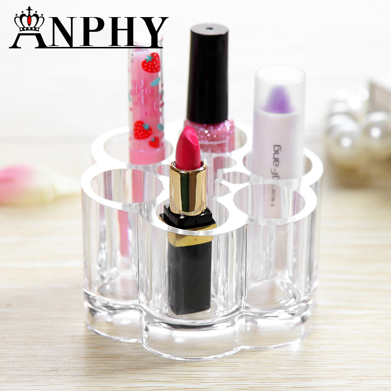 Round Shape Transparent 6 lattice Arylic Cosmetic Lipstick Nail Polish Lipstick Lip Gloss Rack Storage Box Makeup Organizer C14
