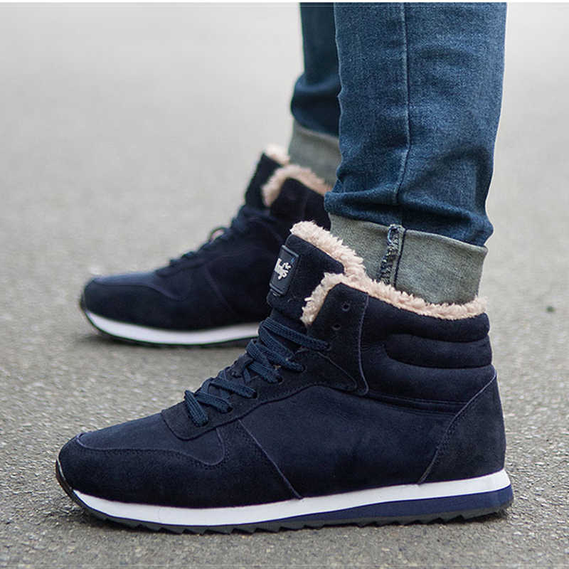 Winter Man Shoes Suede Men Ankle Boots Men Snow Boots Round Toe With Fur Keep Warm Men Footwear Lace-Up Casual Shoes