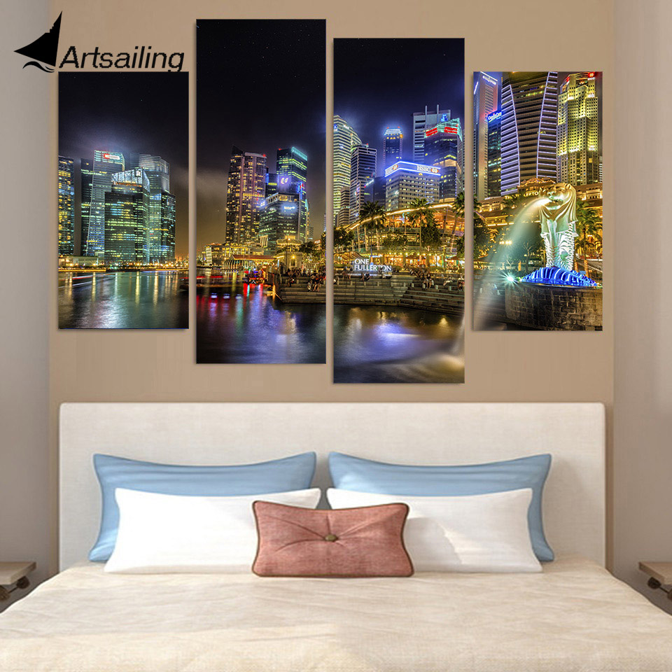 Canvas Painting 4 Piece Canvas Art Singapore City Night Hd Printed