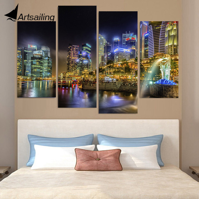Canvas Painting 4 Piece Art Singapore City Night Hd Printed Home Decor Wall Poster