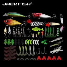 JACKFISH Fishing Lure Set Combine Minnow Popper Spoon Jig Head Hooks 76Pcs Fishing bait Package With Field Synthetic Bait Fishing Sort out