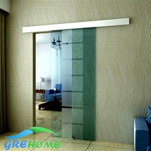 Aluminium alloy frameless barn sliding glass door system