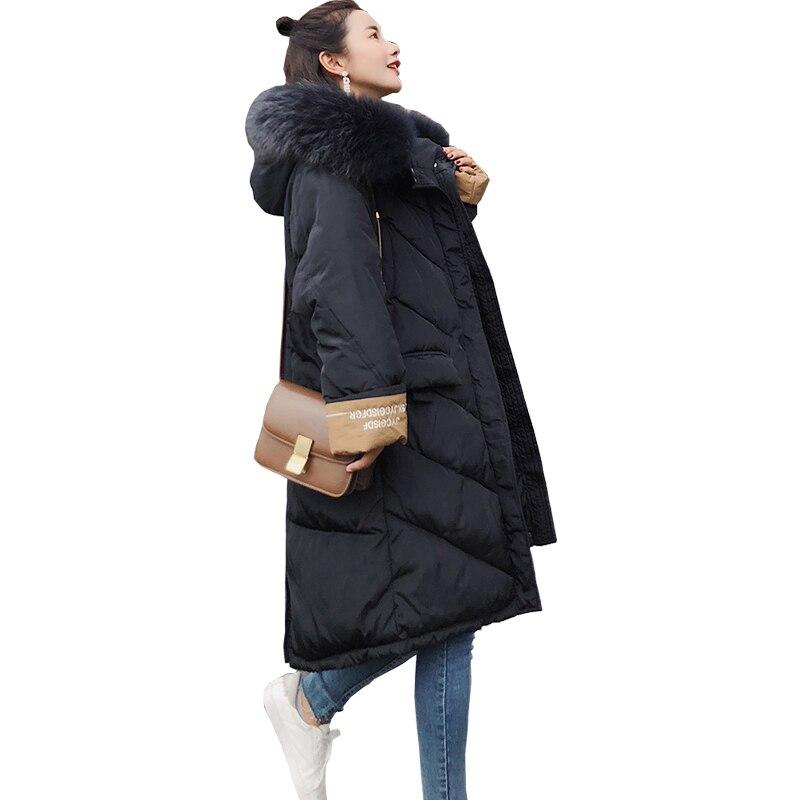 Fourrure Lâche Manteau De Parka Vers Le Taille 2018 Dames Plus La Femmes Veste Longue Black Femme Nouveau Épais caramel Manteaux D'hiver Bas Col Coton khaki Grand vwPq0X1
