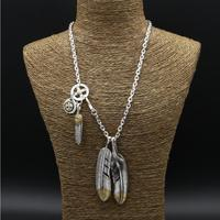 56 9g Solid Sterling Silver 925 Long Necklace Men Vintage Indian Style Gold Eye Claw Feather