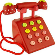 New wooden toy Simulation telephone Red color wood Free shipping
