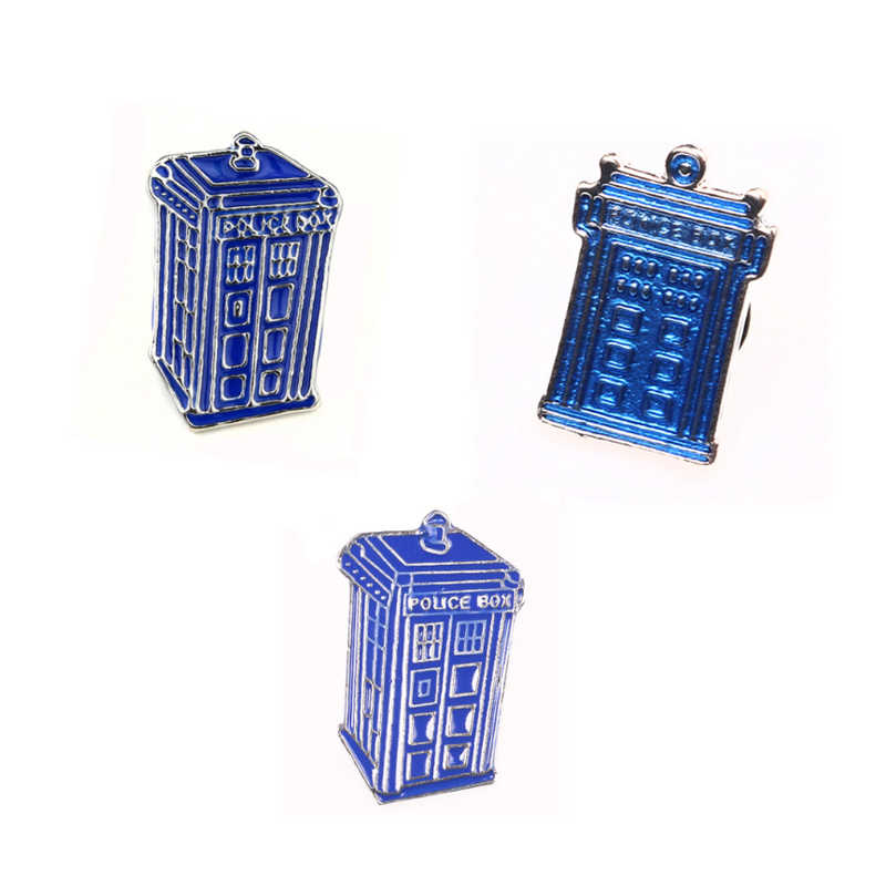 Fashion Dr Mysterious series doctor who blue police box Tardis tie brooch pin house shape men and women accessories