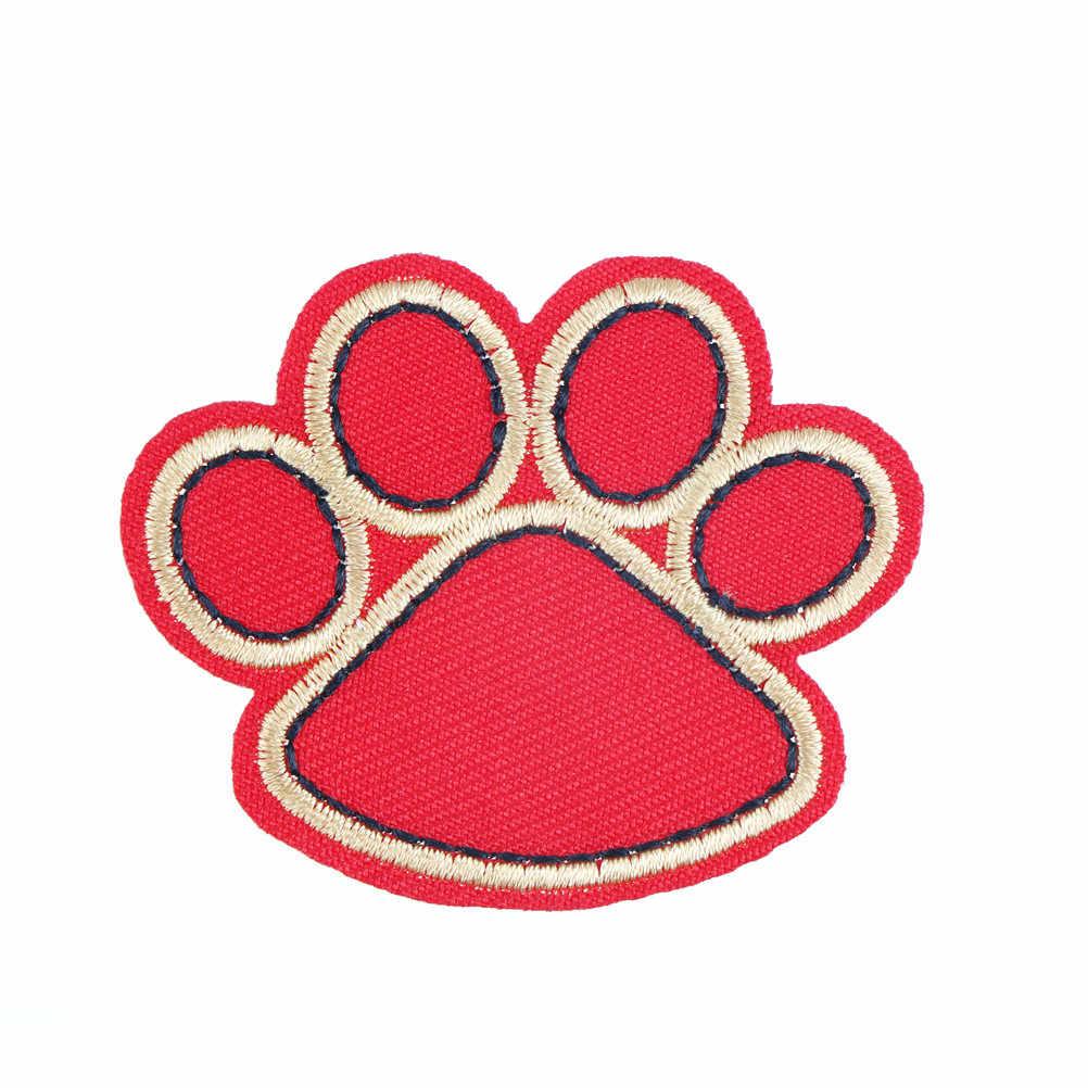 Adesivo Applique Zona Del Ricamo Zampa Del Cane di Ferro su Patch FAI DA TE Per Il Panno Abbigliamento Applique Accessorio di Colore Nero Rosso