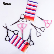 Ножницы для макияжа, маленькие ножницы для волос в носу из нержавеющей стали, ножницы для бровей, наклонные/прямые наконечники, инструменты для удаления волос в форме сердца