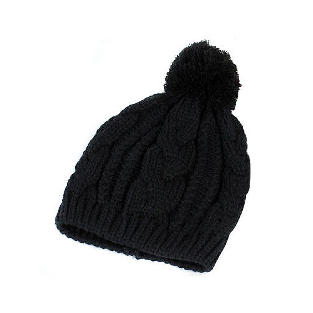 Warm Winter Unisex Men Women Knit Bobble Beanie Baggy Hat Black-in Skullies    Beanies from Apparel Accessories on Aliexpress.com  c648b8bb9cd