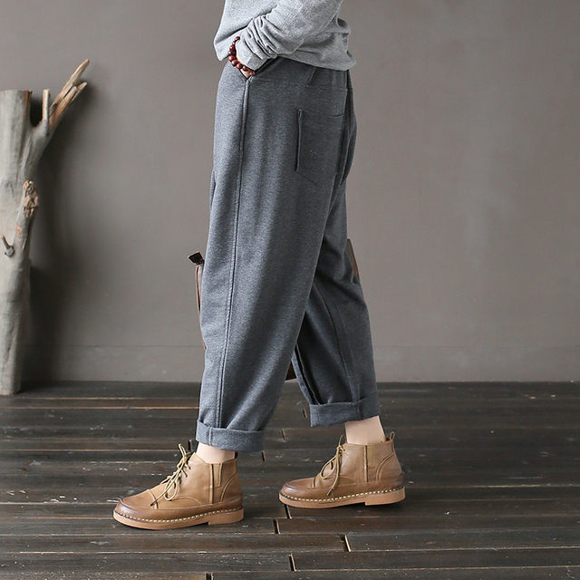 Spring Knitted Cotton Pants Casual Women Autumn Elastic Trousers Pockets Female Brief Vintage Long Harem Pants Winter Warm