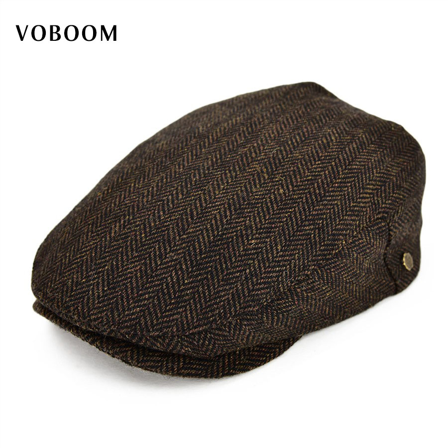 VOBOOM Wool Tweed Herringbone Flat Cap Coffee Brown Black Summer Boina Men  Women Berets Ivy Newsboy Hat 133 08cfc49eedc