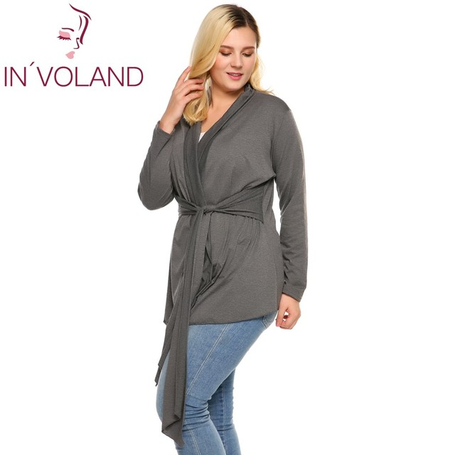 IN'VOLAND Women's Cardigan Big Size Spring Autumn Casual V-Neck Long Sleeve Solid Lace Up Belted Brand Feminino Coat Plus Size
