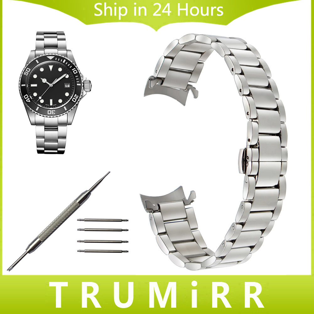 Curved End Stainless Steel Watchband for Davosa Men Women Watch Band Wrist Strap Butterfly Buckle Belt 14mm 16mm 18mm 20mm 22mm watchband stainless steel metal watch bands curved end 18mm 20mm 22mm 24mm silver black for common men watches safety buckle new