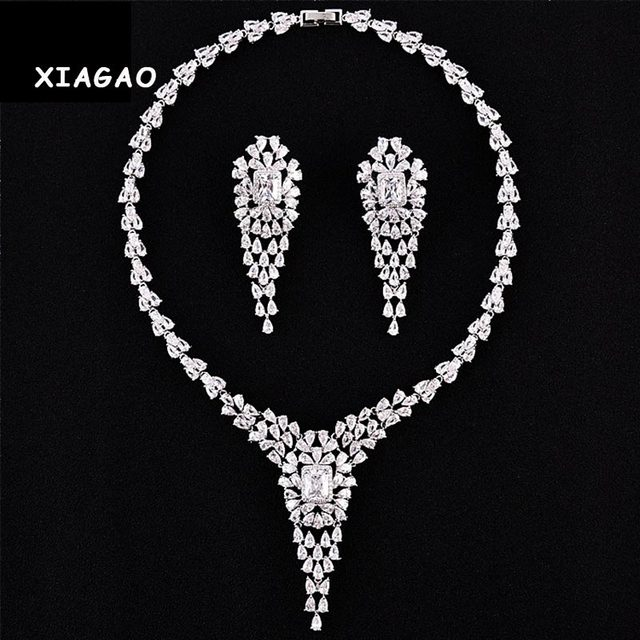 XIAGAO Luxury Elegant Wedding Jewelry Set Including 1 Pair Flower