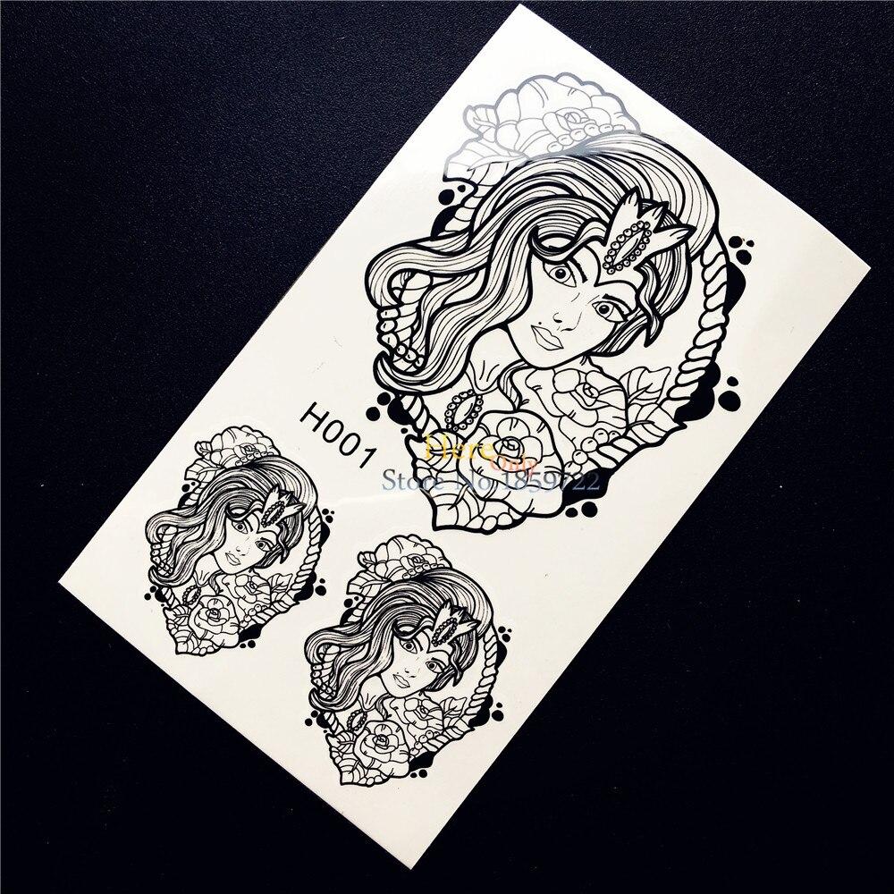1PC Beautiful Women Queen Rose Temporary Tattoo Sticker Black Ink Fake Tattoo Body Art Waterproof Arm Tattoo Stickers Decals HH1