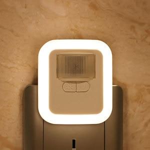 LED Wall Night Lamp Light Plug-in Motion Sensor Nigh Light with Brightness 30s/60s/90s/120s Light Time Adjustable Living Room(China)