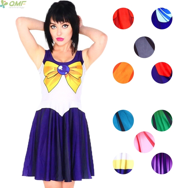 96aab67c7ef2 Cosplay Sailor Moon Dresses Ladies Pleated Dress Bodycon Sundress Sleeveless  Custume Party Summer Women Dress Saias Reversible