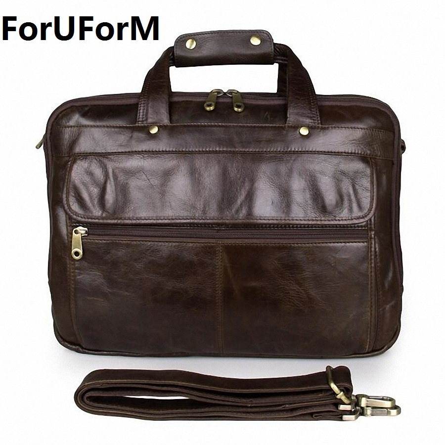 men 14 inch laptop bag retro Genuine leather briefcase bag business handbag Causal Shoulder bag male real cow leather bag LI-662 joyir men briefcase real leather handbag crazy horse genuine leather male business retro messenger shoulder bag for men mandbag
