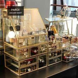 European Golden Glass storage box Cosmetics/ Lipsticks Box Restoring Jewellery Storage Box Dressing Room Decorations 1pc/lot