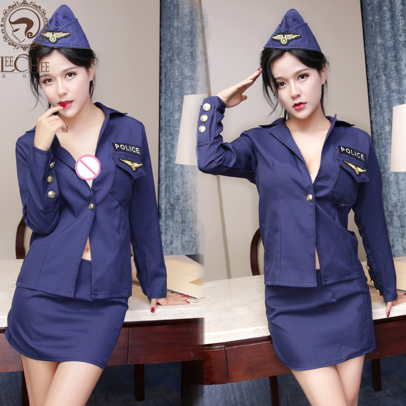 Buy Leechee Q711 Cosplay Sexy lingerie women police role play clothe solid appliques erotic underwear female uniforms porn costumes