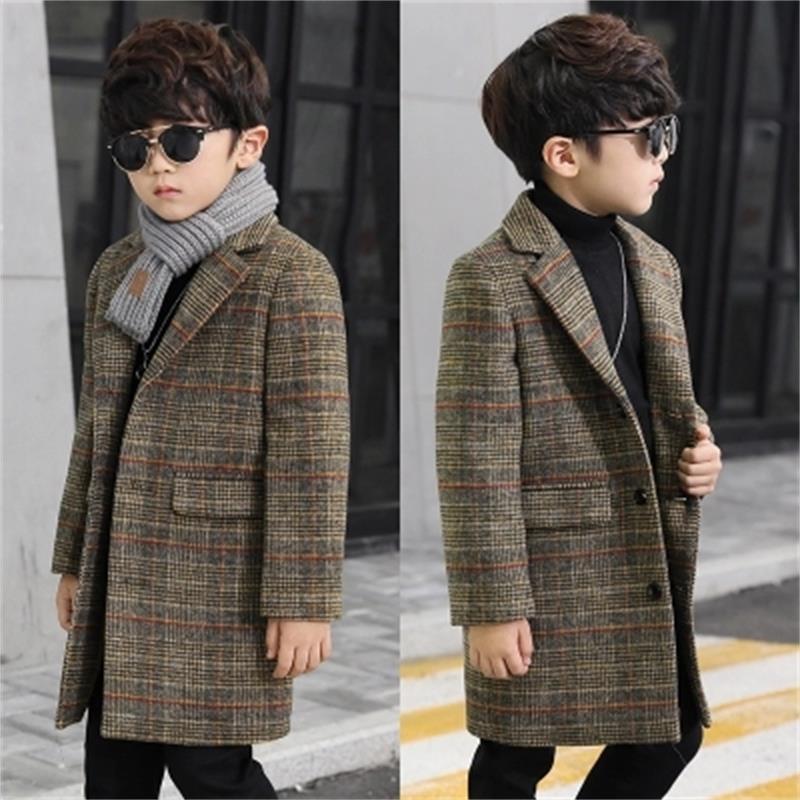 2018 Fashion lattice high quality Children Woolen Coat for Boys Hot Autumn Winter Fashion Buttons Kids Clothes