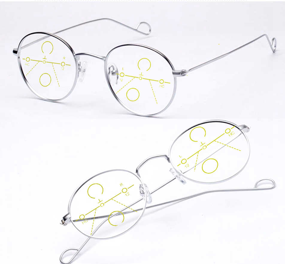 Progressive Multifocal READING GLASSES Pure Handmade Light Retro Vintage Round Spectacles Eyeglasses Add +1 +1.5 +2 +2.5To +4