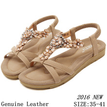 High quality Summer Flat Sandals 2016 Women Sandals Genuine Leather Slippers Flip Flops Sweet Big Size 35 – 41
