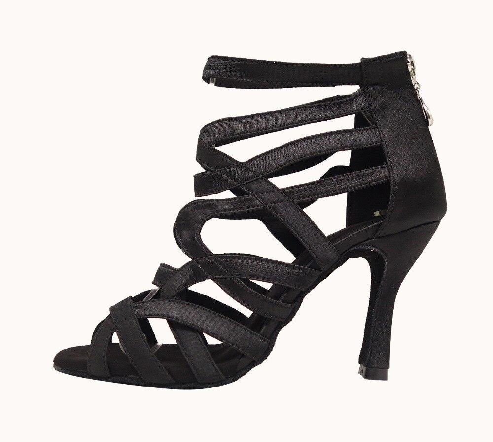 HXYOO nouveau Style noir talons hauts 8-10 cm professionnel confortable femmes chaussures de danse latine salle de bal Tango Salsa chaussures de danse ZC41