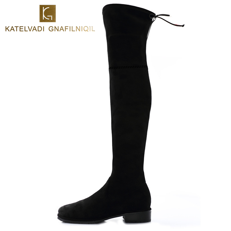 New Women Winter Boots Stretch Slim Over Knee Boots With Plush Black Thigh High Boots Shoes