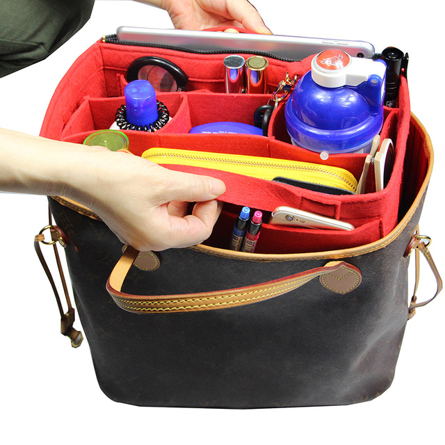 Bag in Bag Felt Organizer (with Detachable Middle Zipper Bag)Wool Purse  Insert Customized Tote Organize Cosmetic Diaper Handbag 6d879d4a33cb
