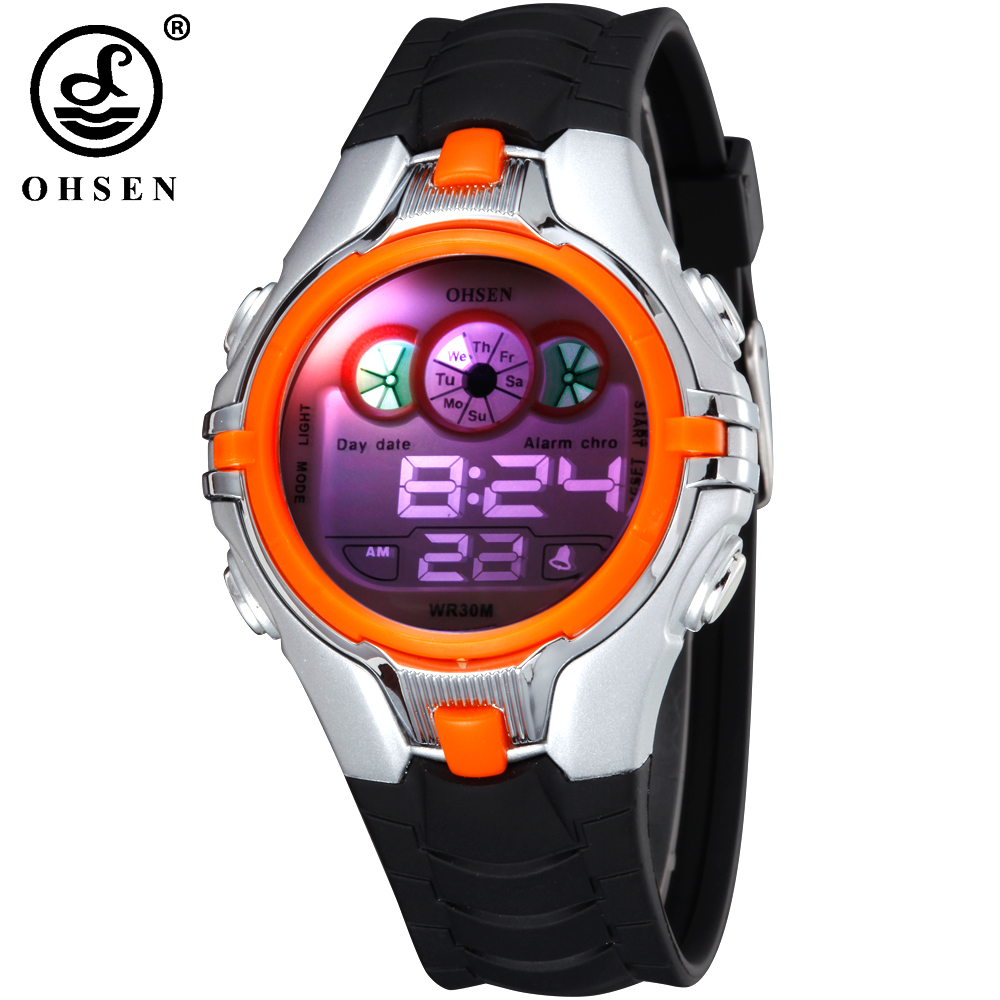 OHSEN Pojkar Barn Barn Digital Sport Klockalarm Datum Chronograph 7 Colors LED Back Light Vattentät Armbandsur Studentklocka