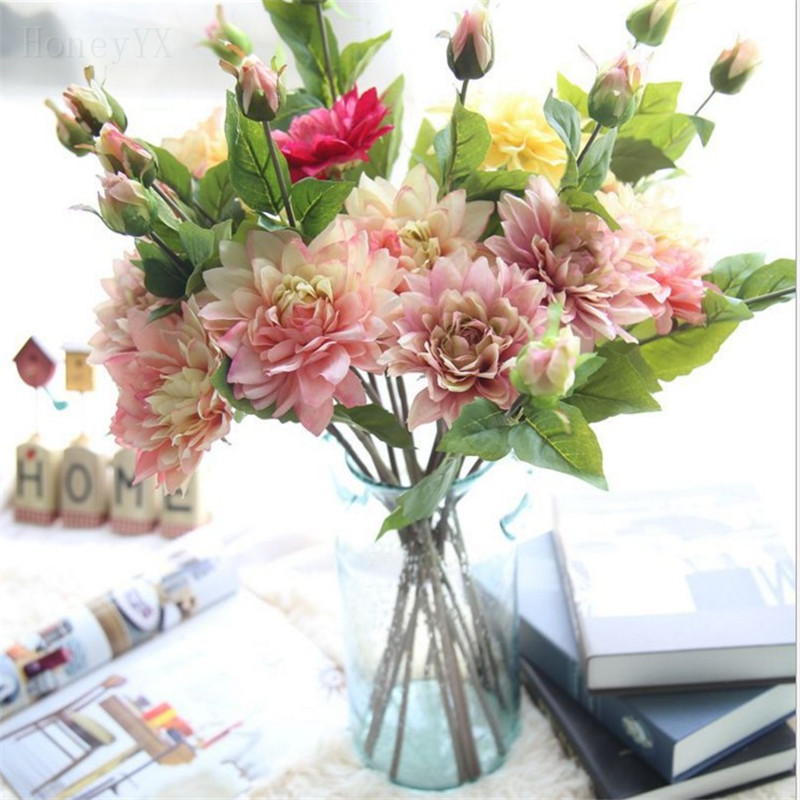 ᗜ LjഃArtificial Dahlia Flower Wedding Bouquet Bridal Bouquets Fake ...