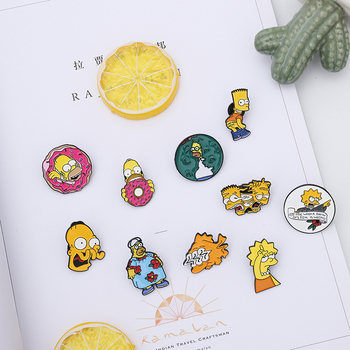Enamel Pin Brooches Cartoon Character Lisa Homer Jay Marge Kirk Badge Backpack Shirt Clothes Button Pin Jewelry Gift image