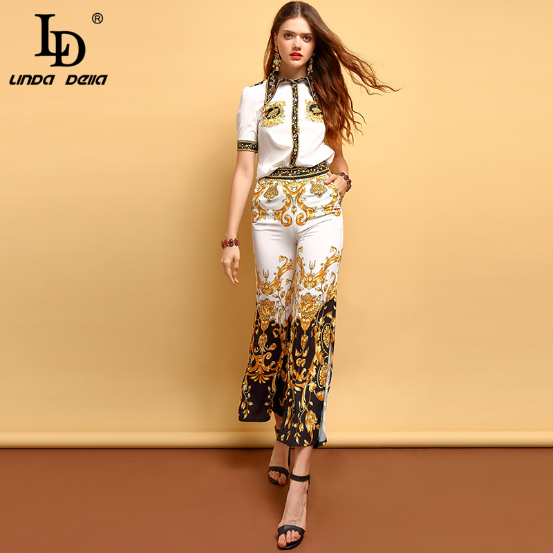 LD LINDA DELLA Fashion Summer Vintage Suits Women's Short Sleeve Beading Shirt And Elegant Floral Print Long Pants 2 Pieces Set