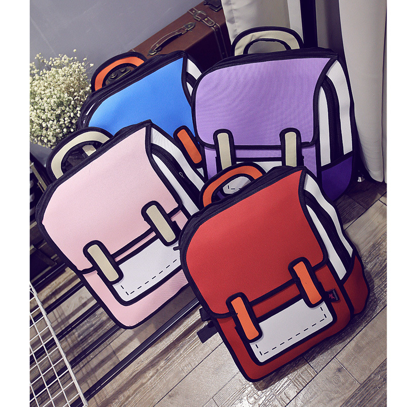 New Second Space Creative Japan Element 3D Shoulder Bag Backpack Tide  Female Bag Fashion Student Backpack .