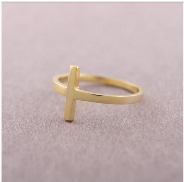 wholesale 10 pce/lot mix color Fashion Jewelry Gold color Cross Ring Finger Rings free shipping
