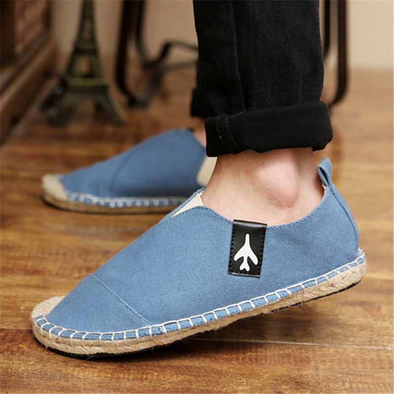 Mens Fashion Canvas Loafers Flat Slip On