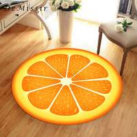 DeMissir 3D פירות כתום צהוב Sectiom עגול גדול שטיח לסלון שטיח שולחן כיסא אנטי להחליק tapetes para casa sala