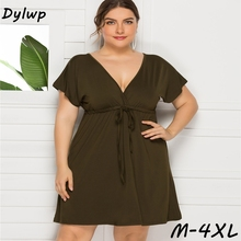 women Sexy Deep V-neck Dress Summer 2019 Backless Drawstring Dress M-4XL Plus size women's clothing Solid Color Mini Party Dress plus drawstring side solid tee dress