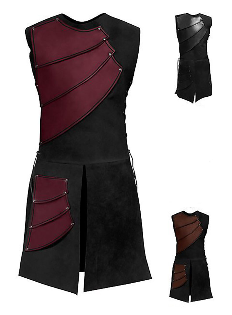 Adult Men Medieval Archer Larp Knight Hero Costume Warrior Black Armor Armour Outfit Roman Solider Gear Coat Clothing M-3XL