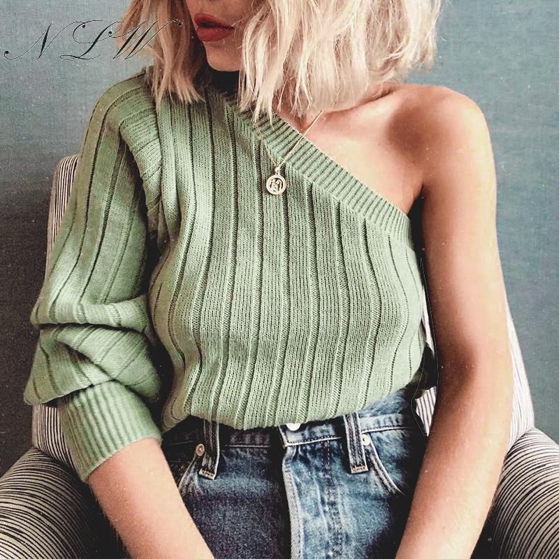 NLW Sexy One Shoulder Ribbed Sweater Women 2019 Autumn Winter Green Fashion Jumper Sweater Casual Solid Knitted Pullover Femme