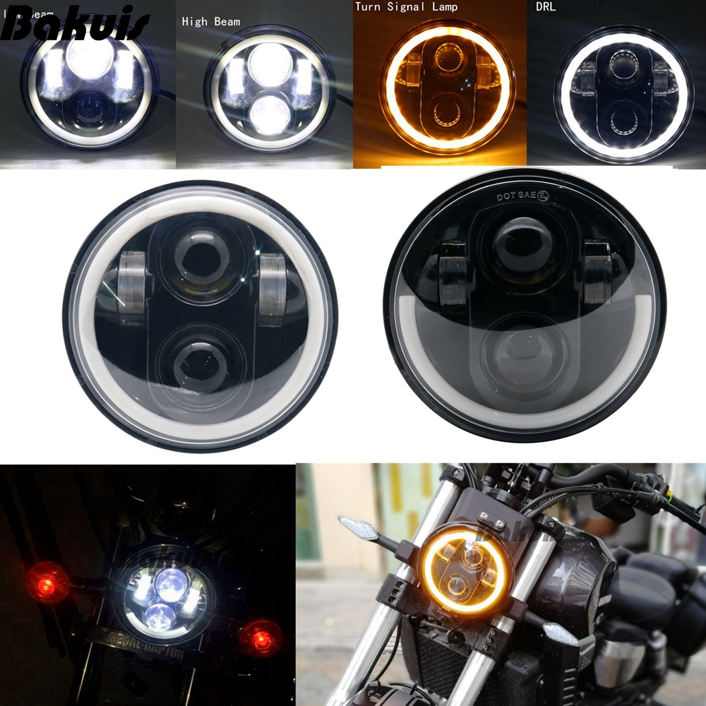 2PC 5.75 5-3/4inch Black LED Motorcycle Headlight Amber Halo For Indian Scout Sportster Wide Glide XL1200 XG750 883 48 Night Rod