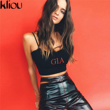 Kliou 2017 Summer Women Fashion America Embroidery Letter Cropped Camisole Sexy Black Backless Strap Crop Top Street Bralet Top(China)